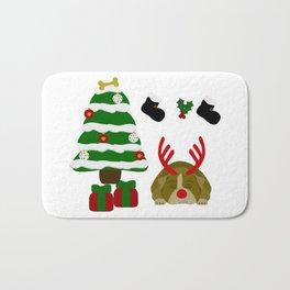 Christmas Sleeping Bulldog - Reindeer Under the Tree Bath Mat