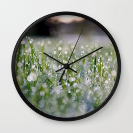 Dew Laden Grass 2 Wall Clock