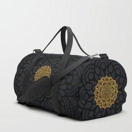 """Black & Gold Arabesque Mandala"" Duffle Bag"