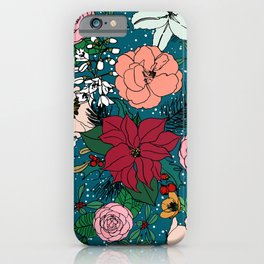 Cute colorful winter floral and white dots design iPhone Case