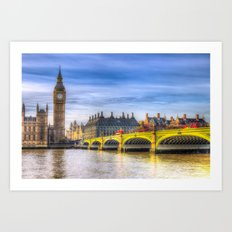 Westminster Bridge and Big Ben Art Print