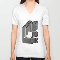 bonjour V-neck T-shirts featuring Bonjour by Salomé Milet
