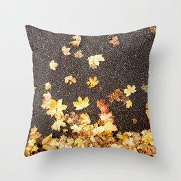 Gold yellow maple leaves autumn asphalt road Throw Pillow
