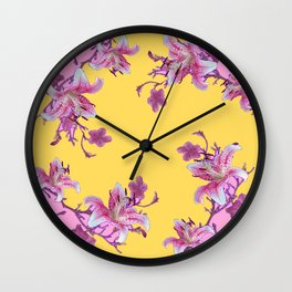 DECORATIVE YELLOW MODERN ART FLORAL Wall Clock