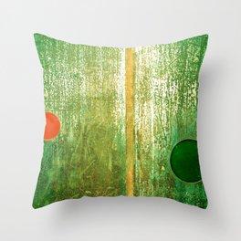 Metallic Face (Green Version) Throw Pillow