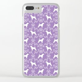 Beagle dog pattern lilac and white floral basic dog breeds repeat pattern beagles dog Clear iPhone Case