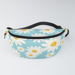 White Daisies Heaven Blue Fanny Pack