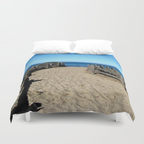 Footprints to the Beach Duvet Cover