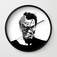 terminator Wall Clocks featuring Terminator (b/w) by Liam Brazier