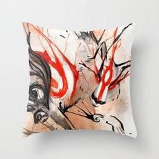 Okami Amaterasu Ink Throw Pillow
