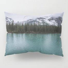 Landscape Photography   Pine Trees   Mountains   Lake in a Storm   Rain   Majestic Pillow Sham