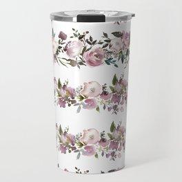 Girly pink lilac teal watercolor floral stripes pattern Travel Mug