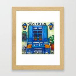 Table for Two Greek Taverna Framed Art Print