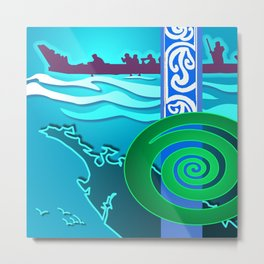 War Canoe- the Waka Metal Print