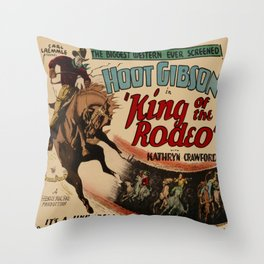 Vintage Western Movie Poster Rodeo King Throw Pillow