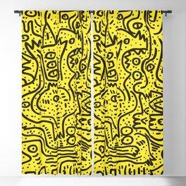 Yellow Graffiti Street Art Posca  Blackout Curtain