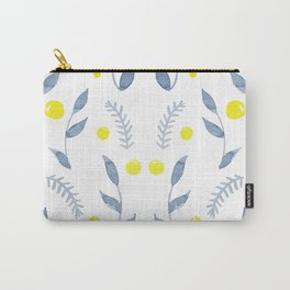 Watercolor nature blue leaves and yellow fruits Carry-All Pouch