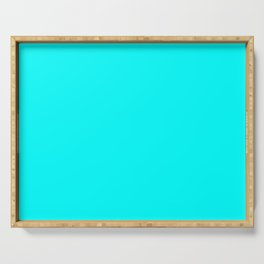 Neon Aqua Blue Bright Electric Fluorescent Color Serving Tray