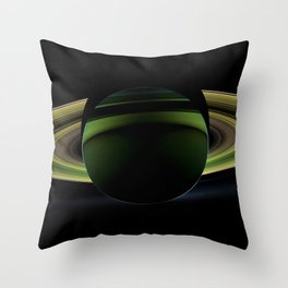 Dark Side of Saturn Space Mission Fly-by Telescopic Photograph Throw Pillow
