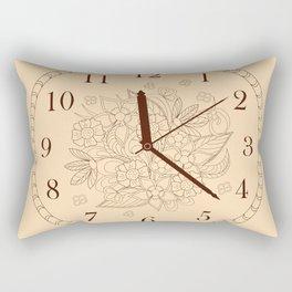 beige floral clock Rectangular Pillow