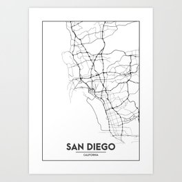 Minimal City Maps - Map Of San Diego, California, United States Art Print