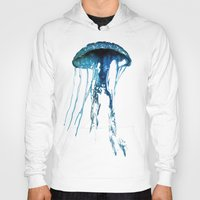 jelly fish Hoodies featuring Jelly Fish Blue by Luigi Riccardi