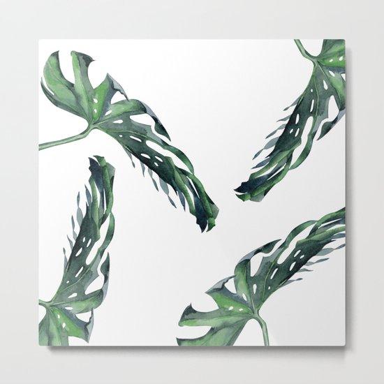 Tropics Palm Leaves Green Metal Print