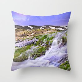 River San Juan. Waterfall At Sunset Throw Pillow