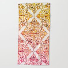 Sunset Art Nouveau Watercolor Doodle Beach Towel