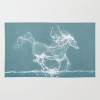 horse Area & Throw Rugs featuring The Water Horse by Paula Belle Flores