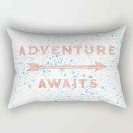 Adventure Awaits Rose Gold Rectangular Pillow