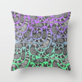 Rockin' Raccoons Throw Pillow