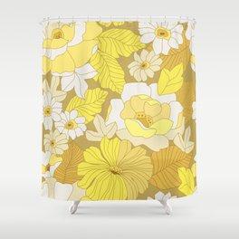 Yellow, Ivory & Brown Retro Flowers Shower Curtain