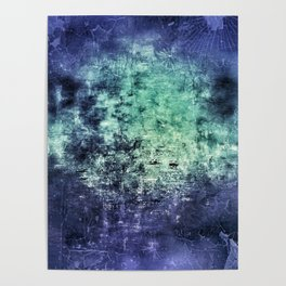 Deep Dark Blue Abyss Abstract #LostPainting Poster