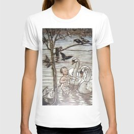 """""""Baby and the Swans"""" by Arthur Rackham T-shirt"""