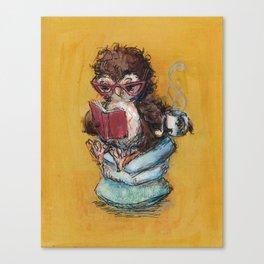 Owl Reading Canvas Print