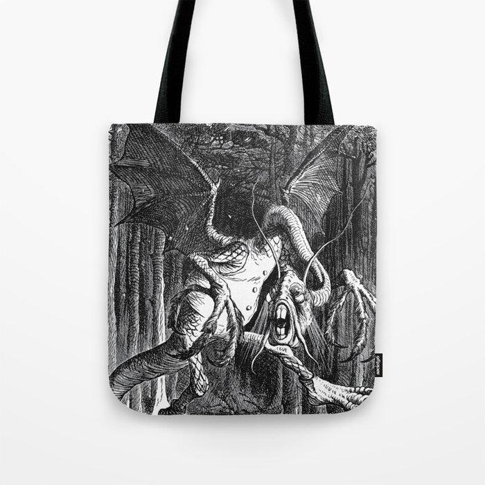 Jabberwocky Illustration from Alice in Wonderland Tote Bag