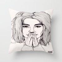 bjork Throw Pillows featuring Bjork by Paul Nelson-Esch Art