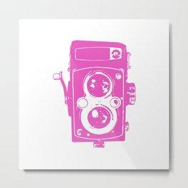 Big Vintage Camera - Pink White Metal Print