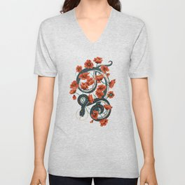 Let Go, Let Grow – Teal Snake in Red Poppies Unisex V-Neck