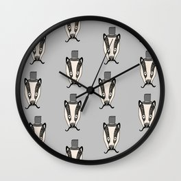 Mr. Badger illustration character cute badgers animal top hat mustache woodland Wall Clock