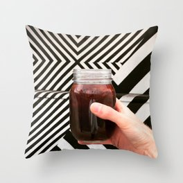 Artistic Cold Brew Shot 3 // Mason Jar Caffeine & Street Art Barista Coffee Shop Wall Hanging Photo Throw Pillow