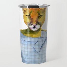 Lioness in Blue Dress Travel Mug