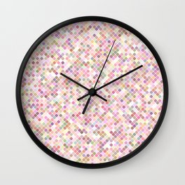 Happy Pastel Square Pattern Wall Clock