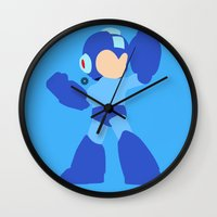 mega man Wall Clocks featuring Mega Man(Smash)Black by samaran