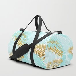 Aloha - Tropical Palm Leaves and Gold Metal Foil Leaf Garden Duffle Bag