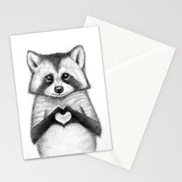 raccoon with heart Stationery Cards