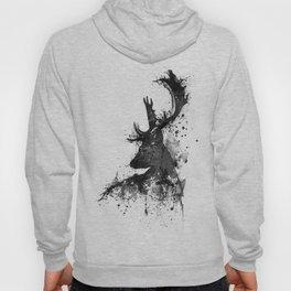 Deer Head Watercolor Silhouette - Black and White Hoody