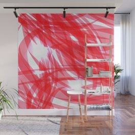 Red and smooth sparkling lines of pink ribbons on the theme of space and abstraction. Wall Mural