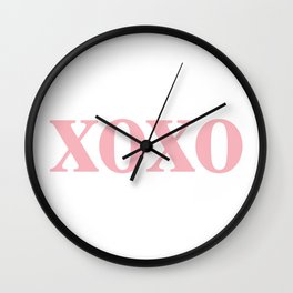 Coral XOXO Wall Clock